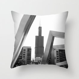 Sears Tower Sculpture Chicago Illinois Black and White Photo Throw Pillow