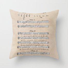 patent art Beswick Musical notation 1903 Throw Pillow