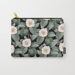 White Camellia Flowers On Black Carry-All Pouch