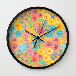 Floral watercolor pattern in yellow Wall Clock