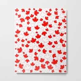 Fun Festive Canada Maple Leaf Red White Random Pattern Metal Print