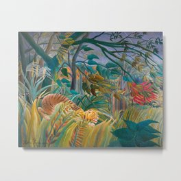 Tiger in Storm, Tropical Forest Exotic Jungle Painting Metal Print