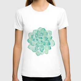 Watercolor Succulent print in seafoam green T-shirt