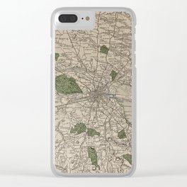 19th Century Topographical Vintage Antique Map Dublin Ireland Steampunk Clear iPhone Case