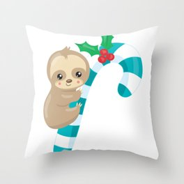 Christmas Sloth Baby Sloth on a Candy Cane Throw Pillow
