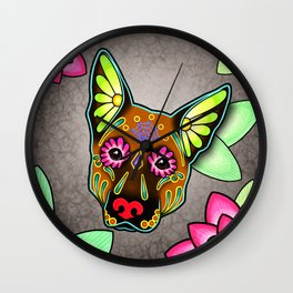 German Shepherd in Brown - Day of the Dead Sugar Skull Dog Wall Clock