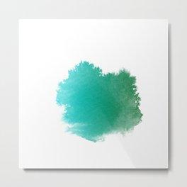 Watercolor Brush Strokes-Blue Metal Print