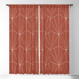 Gisela Geometric Line Pattern - Pomegranate Red Blackout Curtain