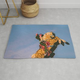 Cowboy on Horse Neon Sign Rug