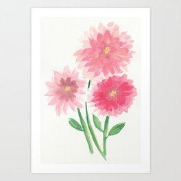 Pink Watercolor Dahlias Art Print