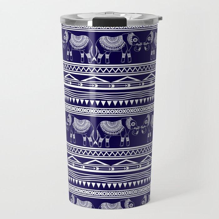 Navy Blue Elephant Pattern Travel Mug