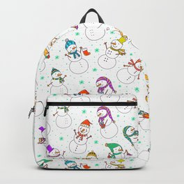 Cute red purple white snowman christmas pattern Backpack