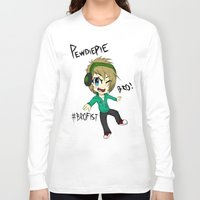 pewdiepie Long Sleeve T-shirts featuring PEWDIEPIE! by Mindlesspeanutbutter