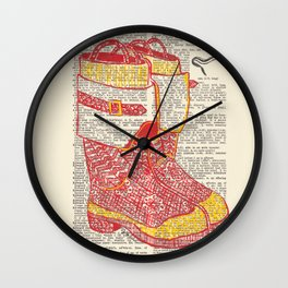 Bunker Boots (Firemen's boots in red and yellow) Wall Clock