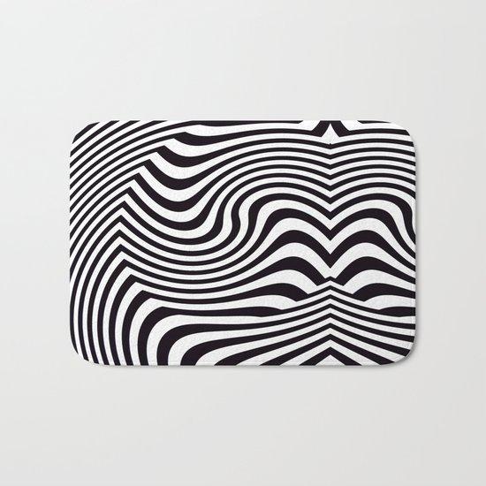 Black and White Pop Art Optical Illusion Bath Mat