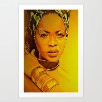 erykah badu Art Prints featuring Erykah badu by Dezz Manuel