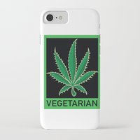 vegetarian iPhone & iPod Cases featuring Vegetarian Marijuana Leaf by BudProducts.us