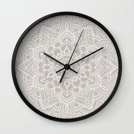 Romantic beige floral mandala - boho lace pattern - Bloomartgallery Wall Clock