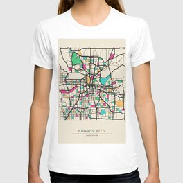 Colorful City Maps: Kansas City, Missouri T-shirt
