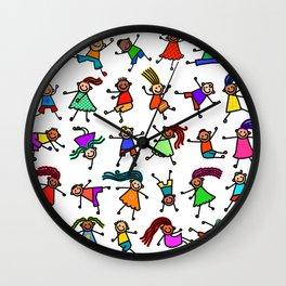 Happy Stick Kid Doodles Wall Clock
