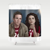 stiles stilinski Shower Curtains featuring Game Day! - Sheriff Stilinski and Melissa McCall by xKxDx