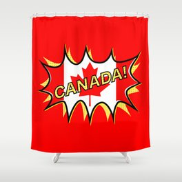 Canadian Flag Comic Style Starburst Shower Curtain