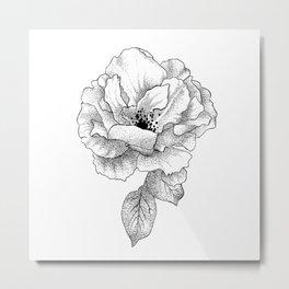Black and White Floral Rose Bloom Metal Print