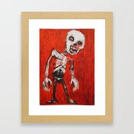Skeletal Zombie, Red Background, original art Framed Art Print