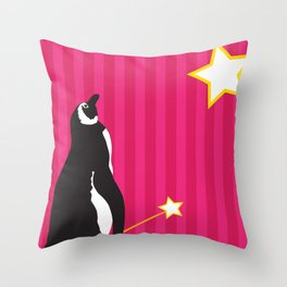 Penguin Starstruck Throw Pillow