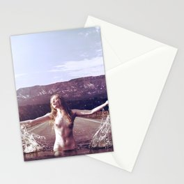 Nude Woman Splashing in the Road Stationery Cards