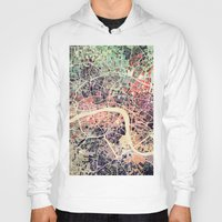london map Hoodies featuring London Mosaic Map #1 by Map Map Maps