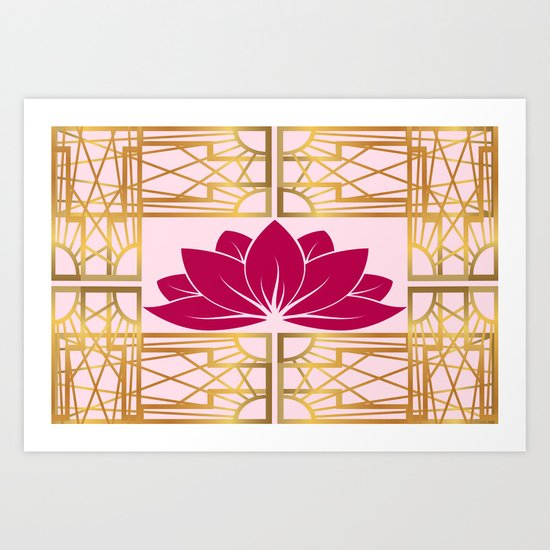 art deco retro lotus cerise art print by nataliecatlee society6. Black Bedroom Furniture Sets. Home Design Ideas