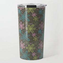 Lined flowers pattern Travel Mug
