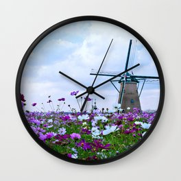 Windmill and Tulips Wall Clock