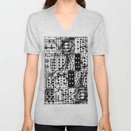 analog synthesizer system - modular black and white Unisex V-Neck