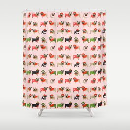 Holiday Pugs 2  Shower Curtain