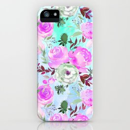 Blush pink lilac lavender teal watercolor roses pattern iPhone Case