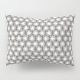 White Polka Dots and Circles Pattern on Pantone Pewter Gray Pillow Sham