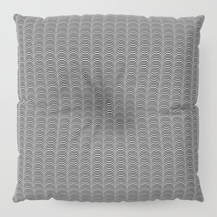 Black and White Scallop Line Pattern Digital Graphic Design Floor Pillow
