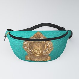 golden buddha in blue paper background and in digital clauds Fanny Pack