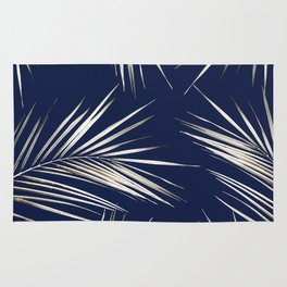 White Gold Palm Leaves on Navy Blue Rug