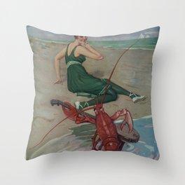 Vintage Lobster Guitar Serenade Illustration (1914) Throw Pillow