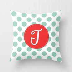 Monogram Initial T Polka Dot Throw Pillow