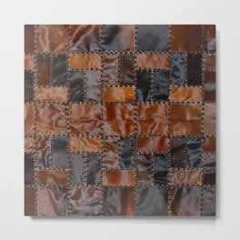 Cowhide leather abstract vintage cow skin check patches Metal Print
