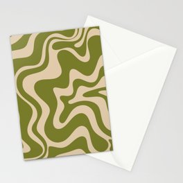 Retro Liquid Swirl Abstract Pattern in Mid Mod Olive Green and Beige Stationery Cards