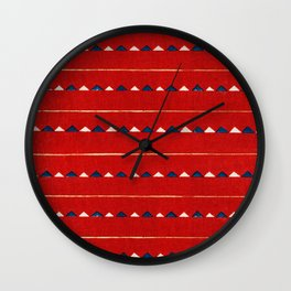 Triangles On Red Background Japanese Shima-Shima Pattern Wall Clock