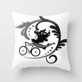 Star Girl Bike Swirl Throw Pillow