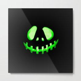 HALLOWEEN. Jack O Lantern : Green Metal Print