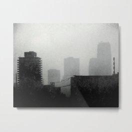 Misty Building Tops Metal Print