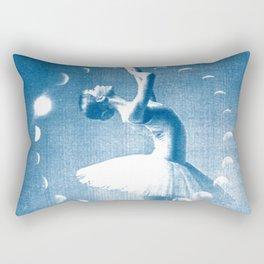 Ballerina and the Moon Phase, Ballet, Ballet Art, Blue Print, Ballet Print, Ballet Dancer Rectangular Pillow